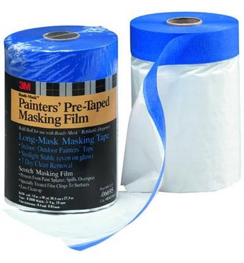 3M Hand-Masker PreTaped Plstc Drop Cloth,PT2090-24,06696,24x30yd