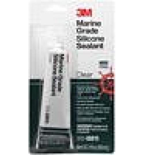 3M Marine Grade Silicone Sealant, 08019, 3 fl oz Tube, Clear
