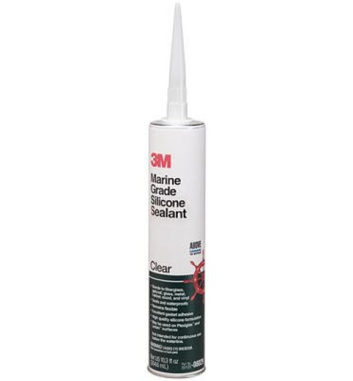 3M Marine Grade Silicone Sealant, 08029, 1/10 Gallon, Clear