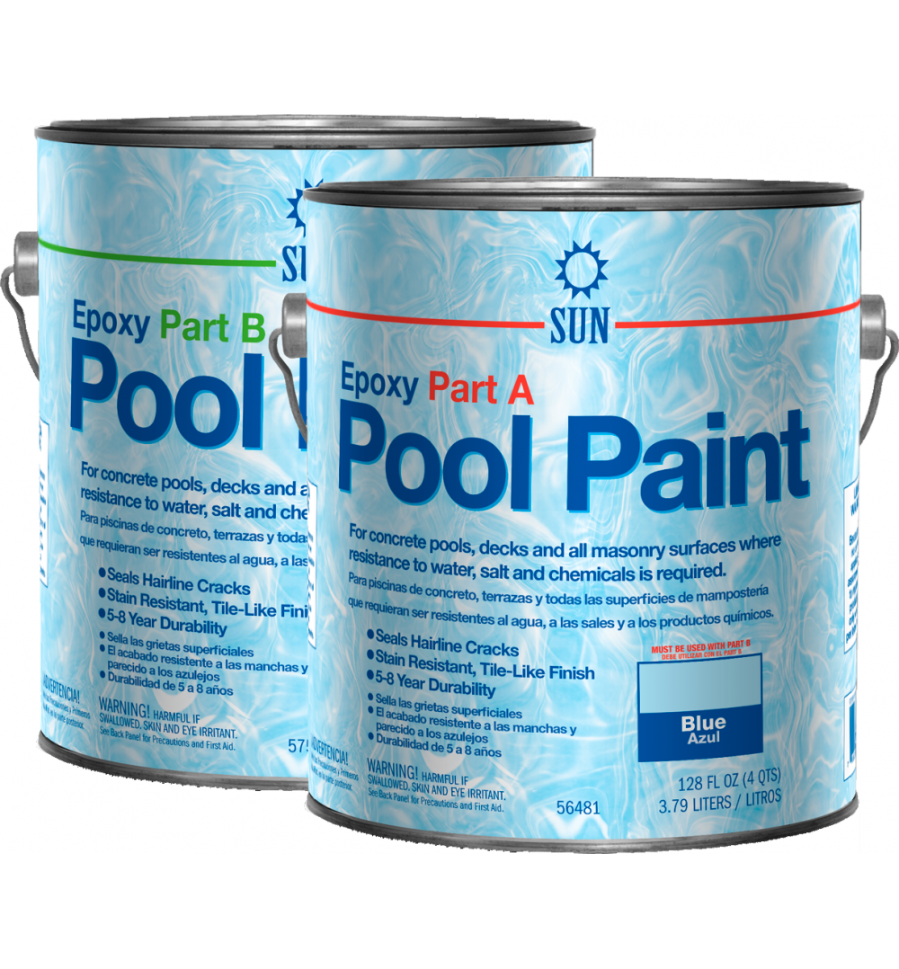 2 part epoxy pool paint by sun paints and coatings for Epoxy coating for swimming pools