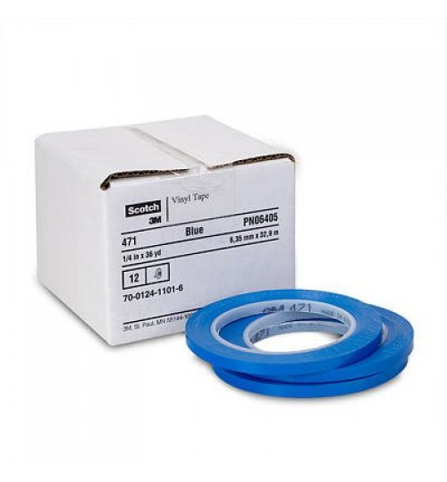 Scotch Plastic Tape 471 Blue 06405, 1/4 in x 36 yd