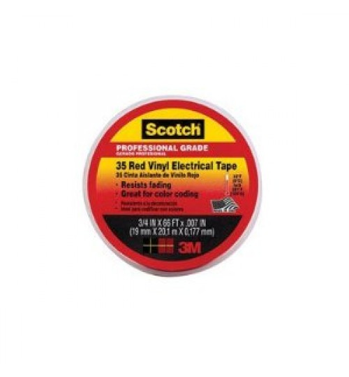 Scotch Vinyl Electric Color CodeTape 35-Red-3/4,3/4in x 66ft