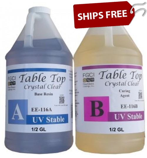 Crystal Clear Epoxy Table Top Resin, 1 Gallon Kit