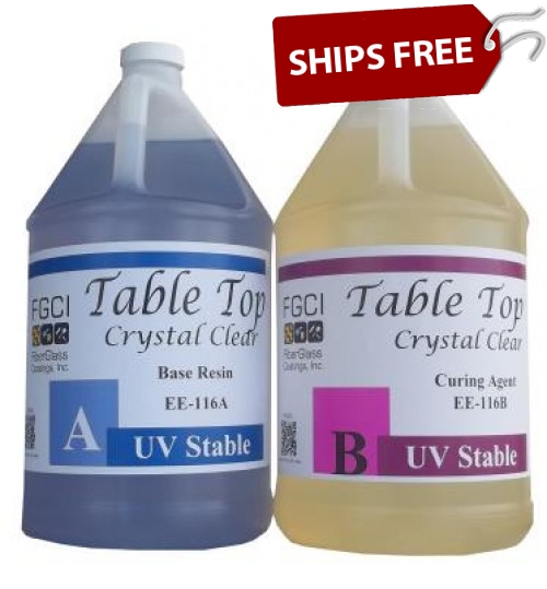 Crystal Clear Epoxy Table Top Resin, 2 Gallon Kit